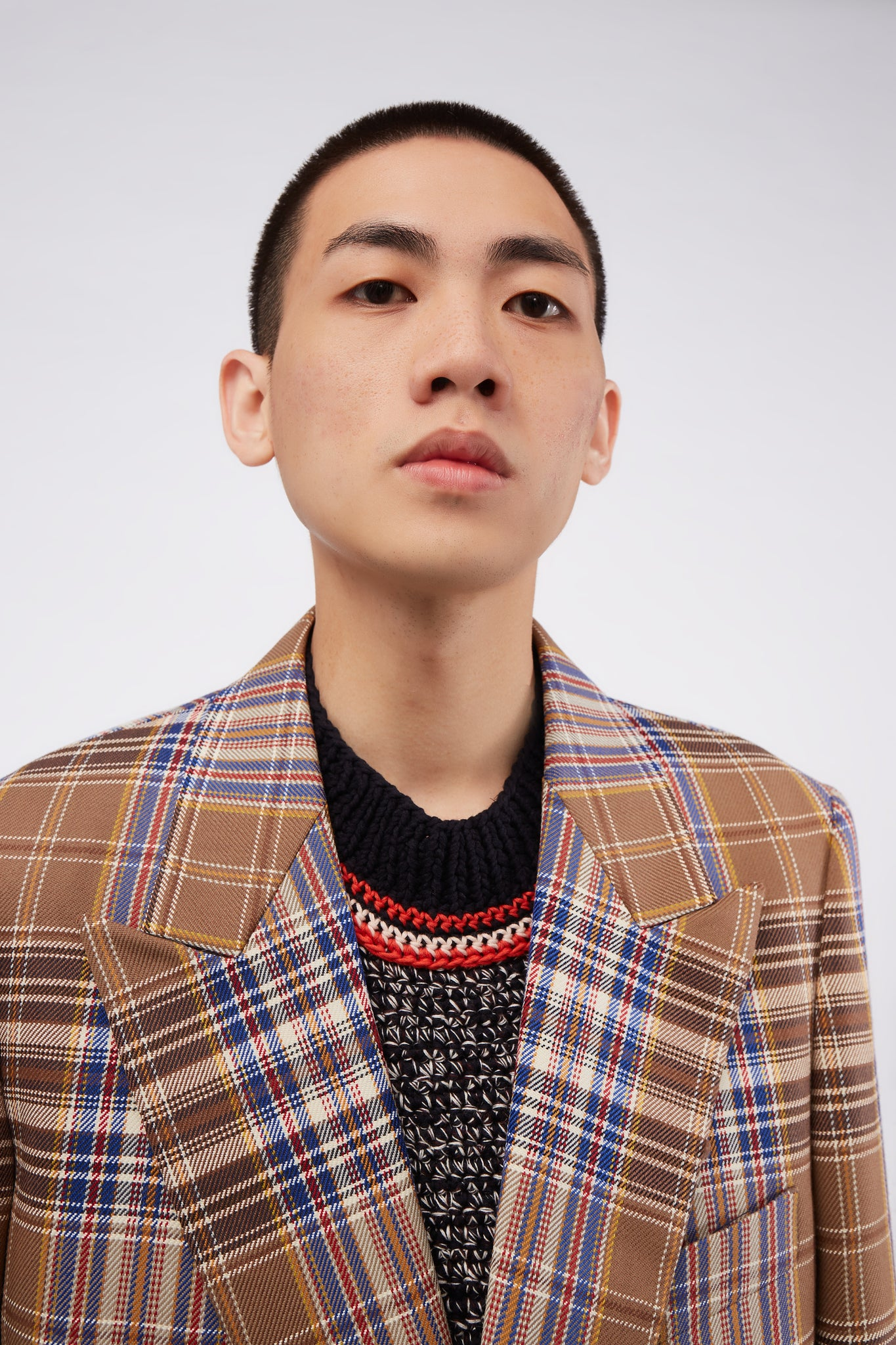 Double Breasted Beige Check Jacket