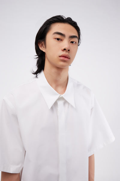 Heavy Poplin S/S Shirt White