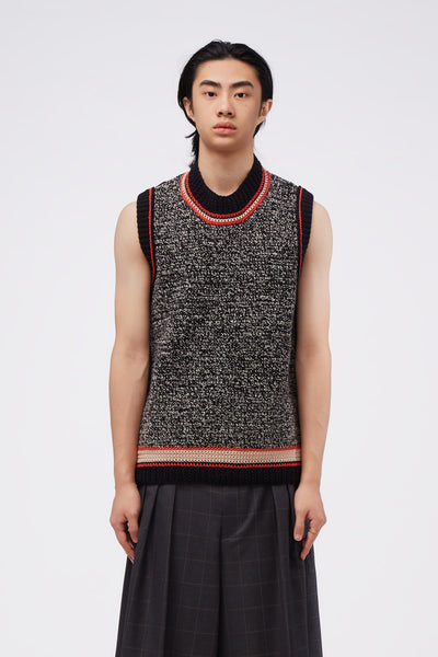 Maison Margiela - Sleeveless Knit Tank Black Coral Mix