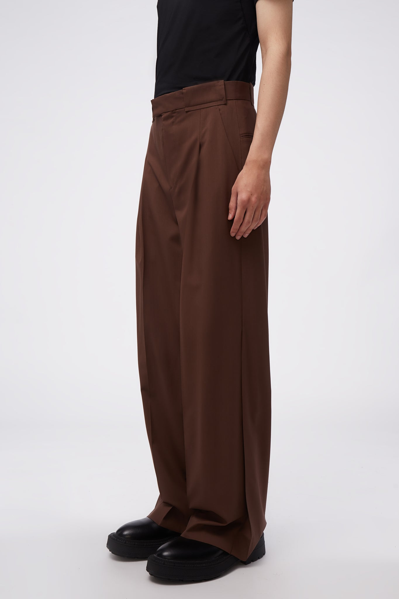 Wide Suit Trousers Chocolate