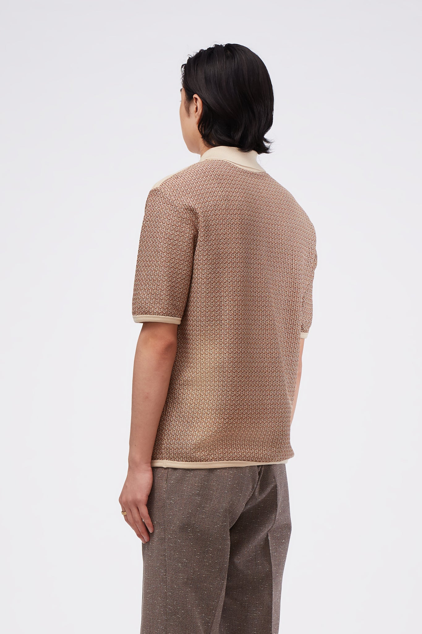 Knitted Jersey Polo Ecru / Brown