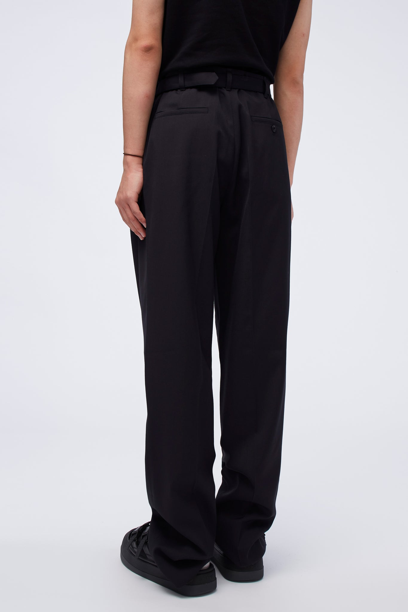 Belted Pleat Pants Caviar