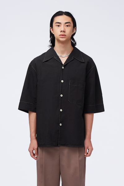Lemaire - Convertible Collar Shirt Black