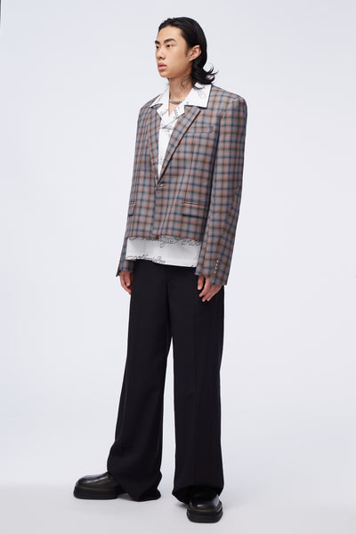 Gen Dropped Collar Suit Illusional Tartan Check