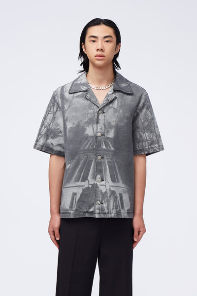 Act Of Desire - Bali SS Work Shirt Jacquard Oil Painting Grey