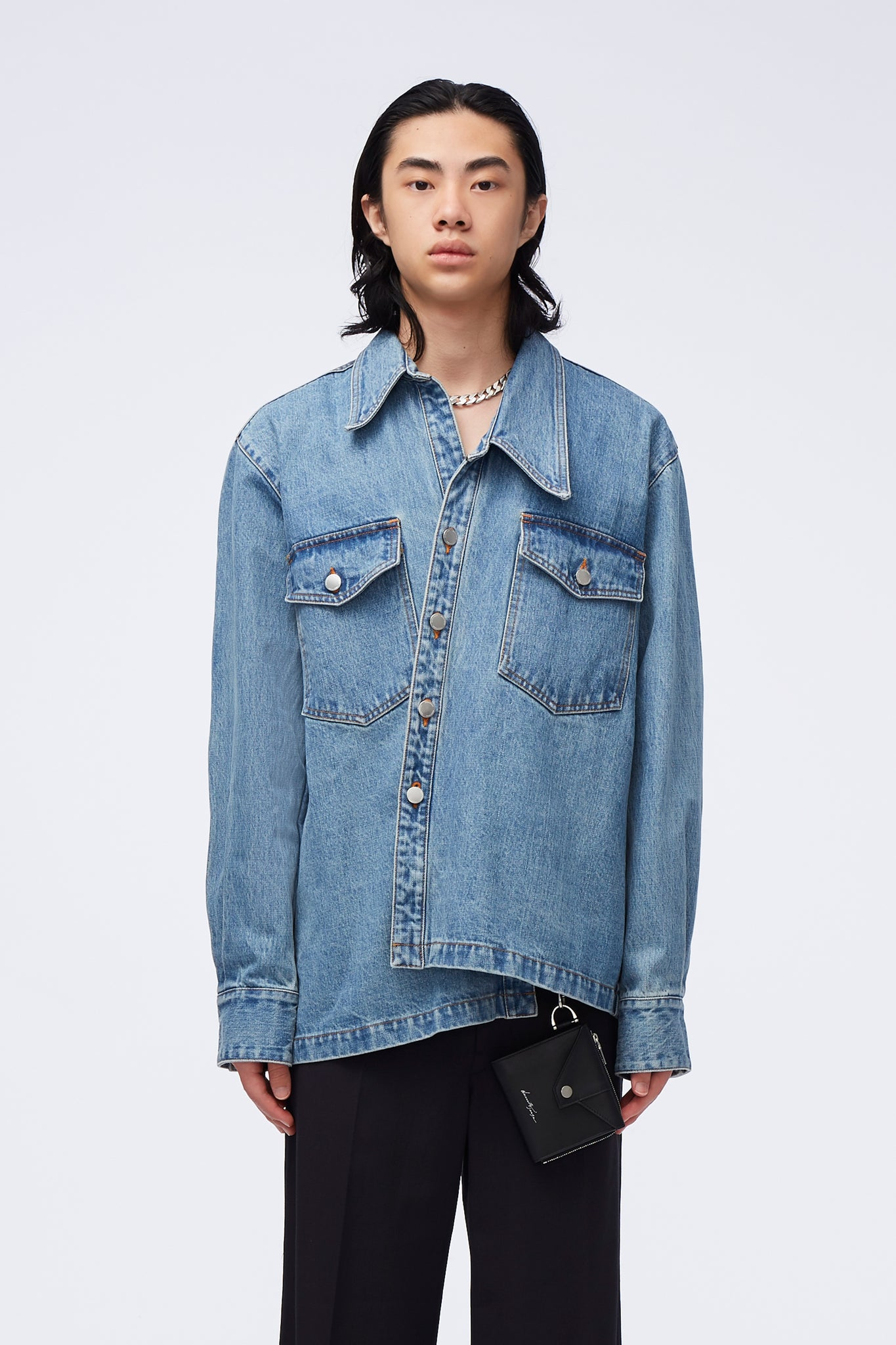 Raven Slanted Work Shirt Sky Blue Indigo Wash