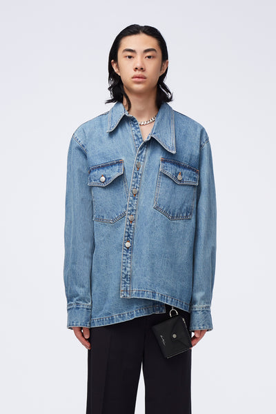 Act Of Desire - Raven Slanted Work Shirt Sky Blue Indigo Wash