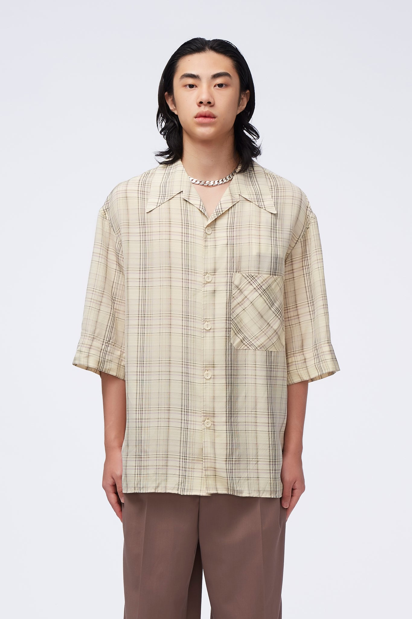 Convertible Collar Shirt Multicolor Grid
