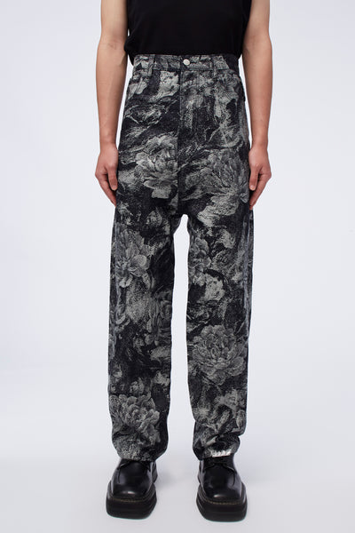 Act Of Desire - Dobby Wide Leg Work Jeans Jacquard Peony Floral Splattered Pattern