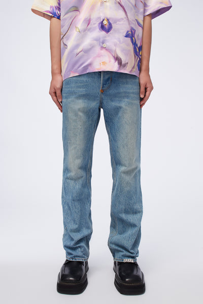 Act Of Desire - Sky Flare Work Jeans Sky Blue Indigo Wash