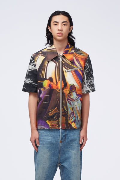 Act Of Desire - Moses Short Sleeve Jacket Illusional Oil Painting Orange