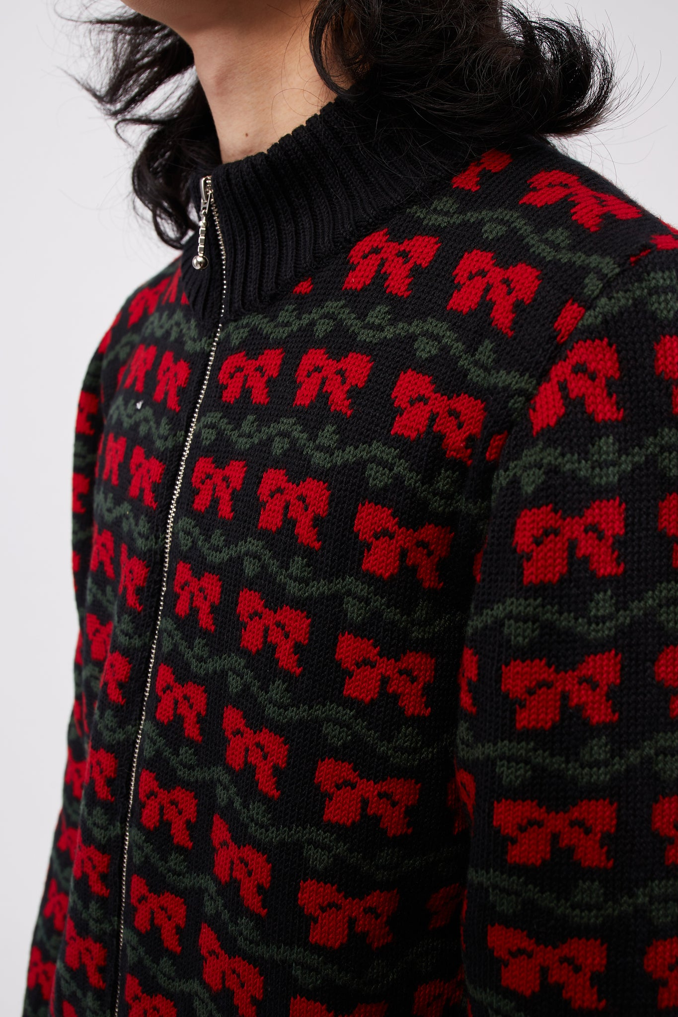 Knit Track Top Bow Ties Jacquard