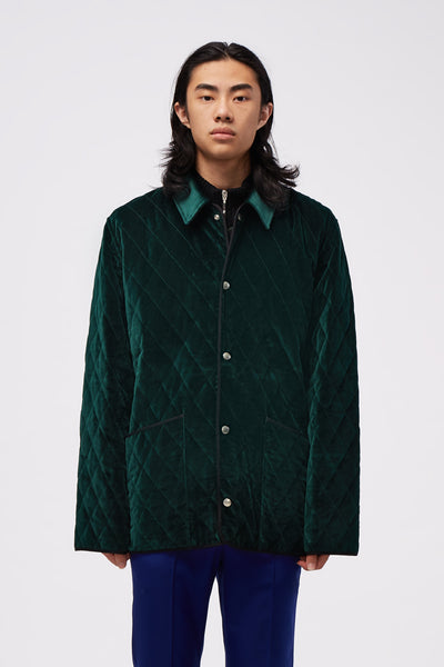 Ernest W. Baker - Velvet Quilted Jacket Dark Green
