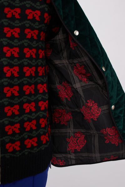 Velvet Quilted Jacket Dark Green