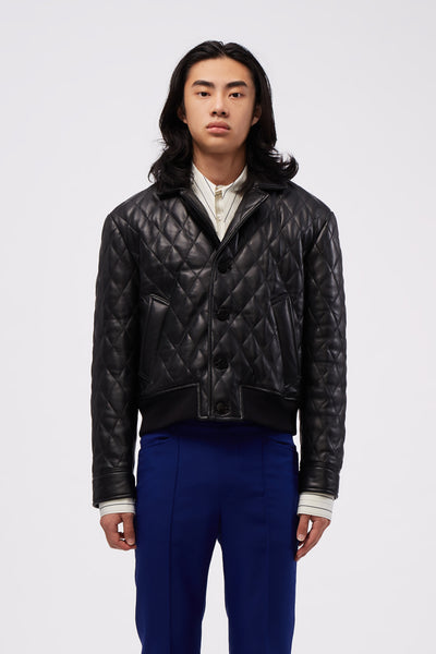 Ernest W. Baker - Quilted Leather Bomber Black
