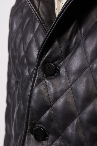 Quilted Leather Bomber Black