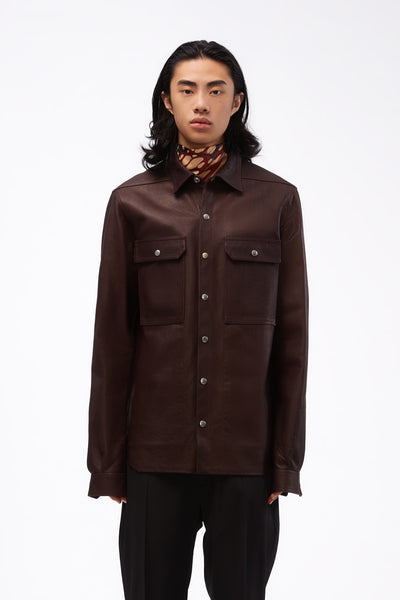 Rick Owens - Outershirt Burgundy Leather Jacket