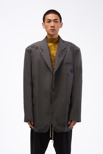 Marni - Distressed Oversized Blazer Grey