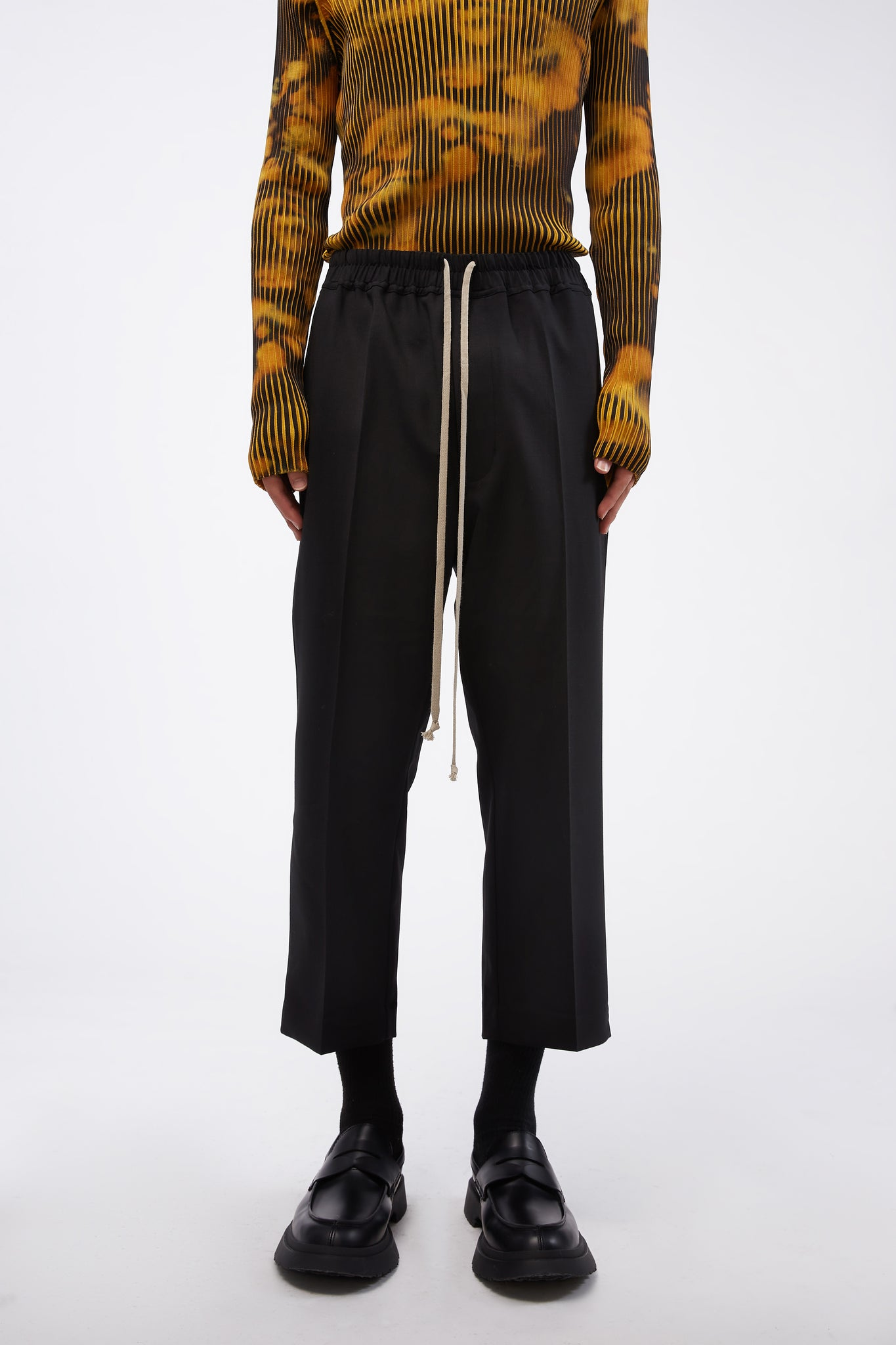 Drawstring Slim Astaires Cropped Trousers Black