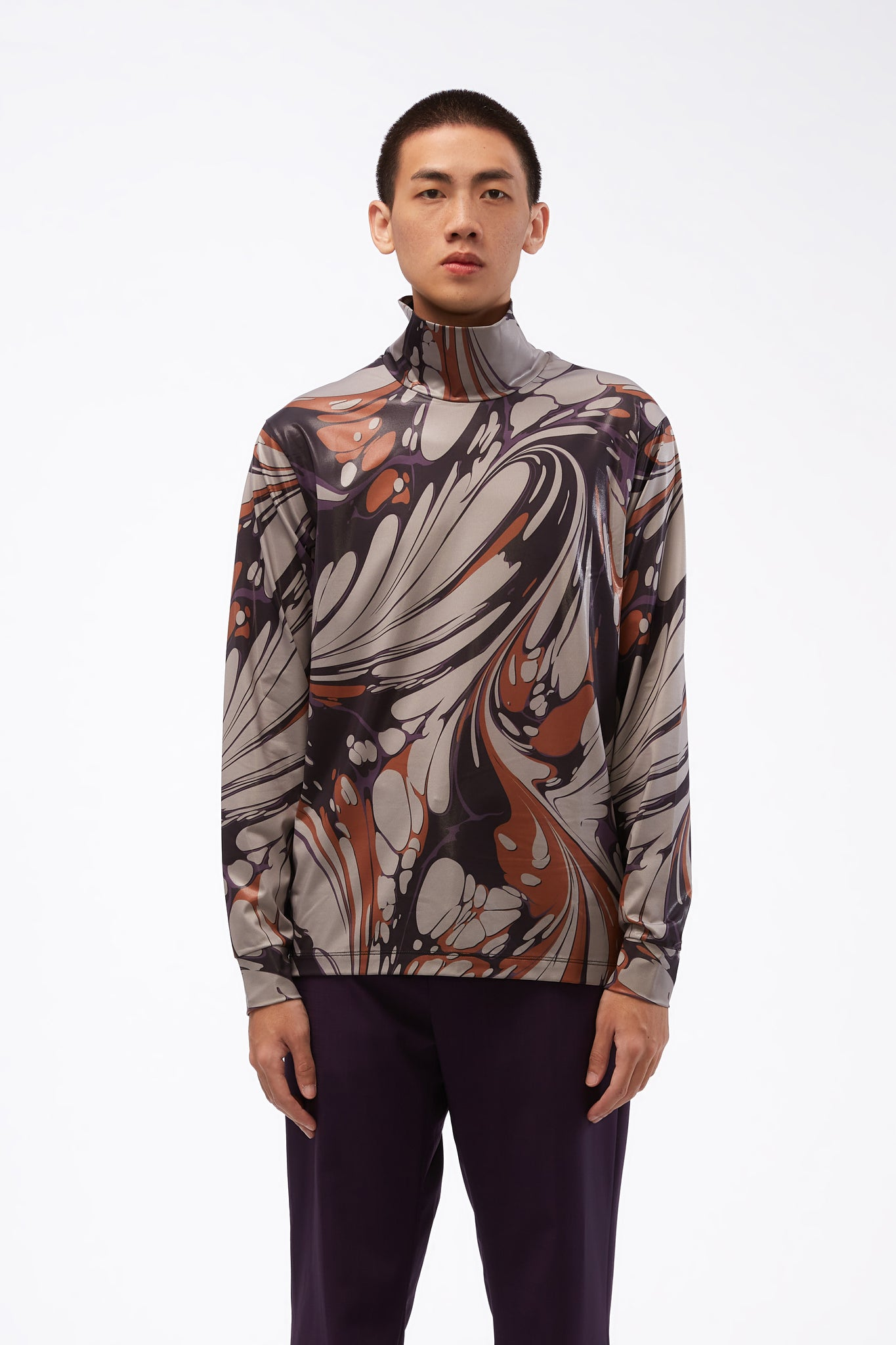 LS Turtle Neck Top Purple Marble Print Jersey