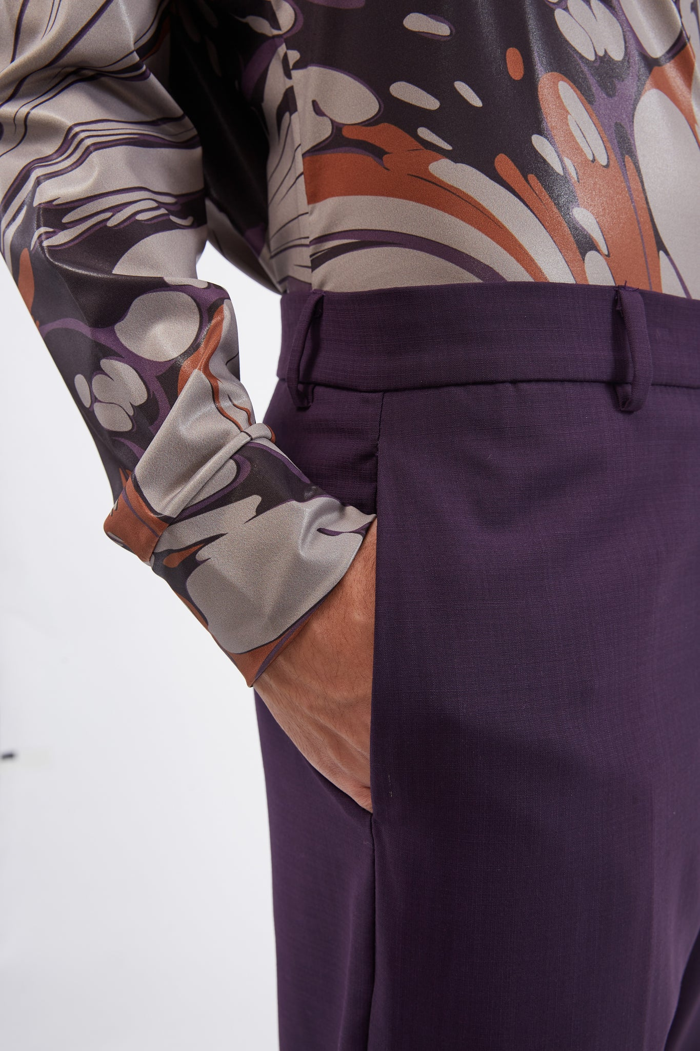 Straight Leg Trousers W/ Inverted Box Pleat At Hem Purple