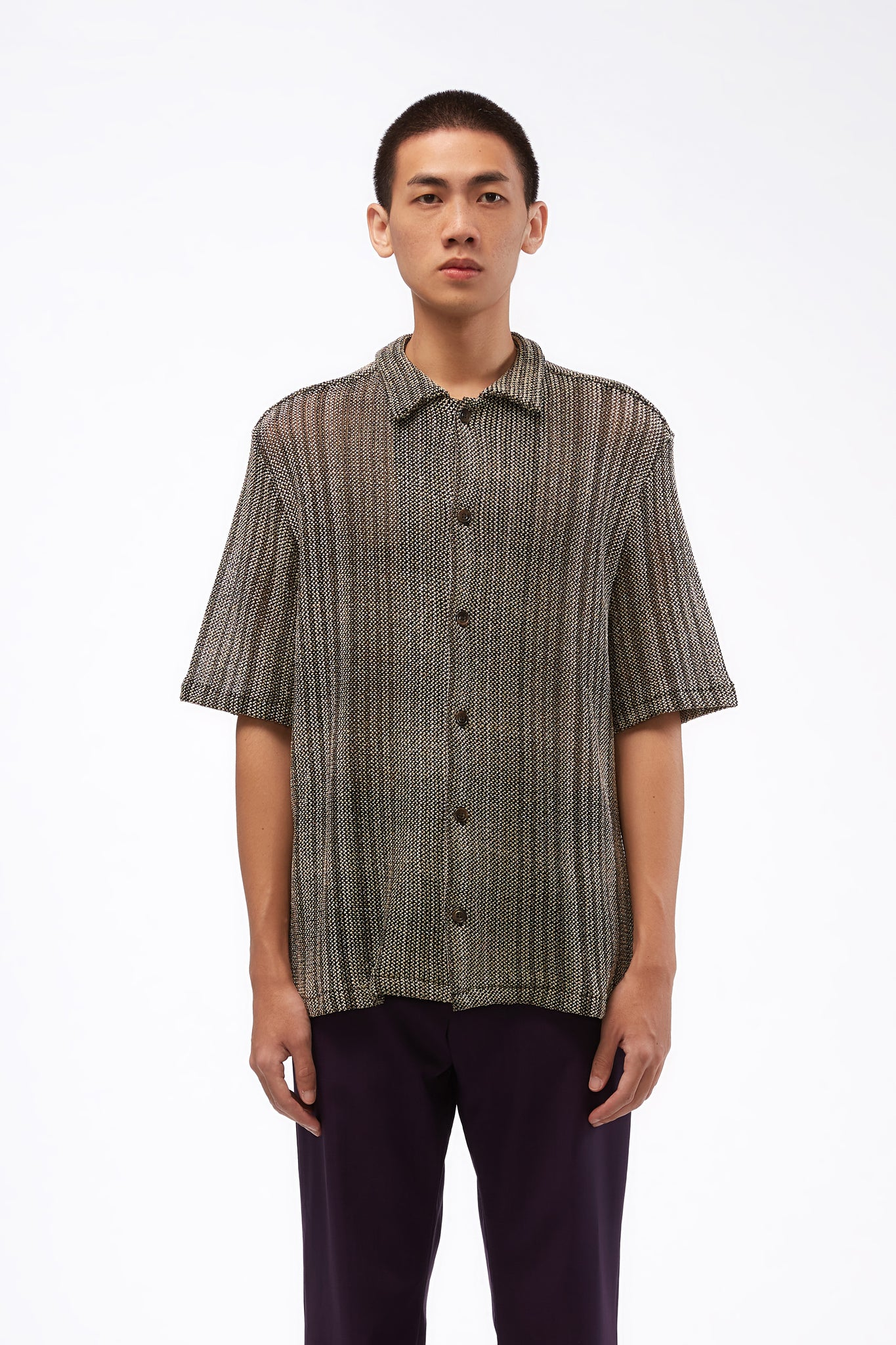Signature Knitted SS Shirt Silver Stripe