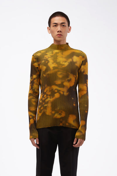 CMMN SWDN - Ribbed Turtle Neck LS Jumper W/ Sublimation Print Mustard Print