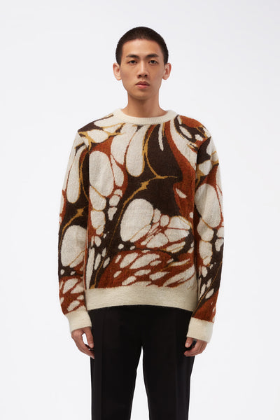CMMN SWDN - Mohair Crewneck Jumper Brown Marble