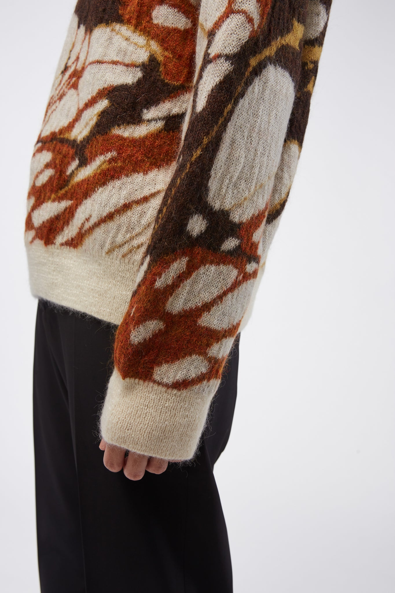Mohair Crewneck Jumper Brown Marble
