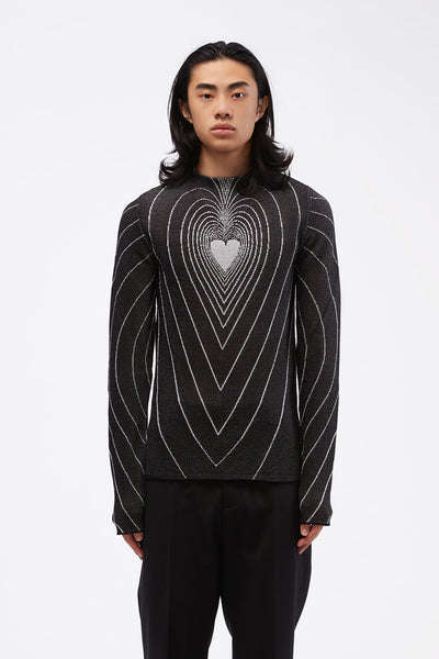 Marni - Black Round Neck Sweater White Heart print
