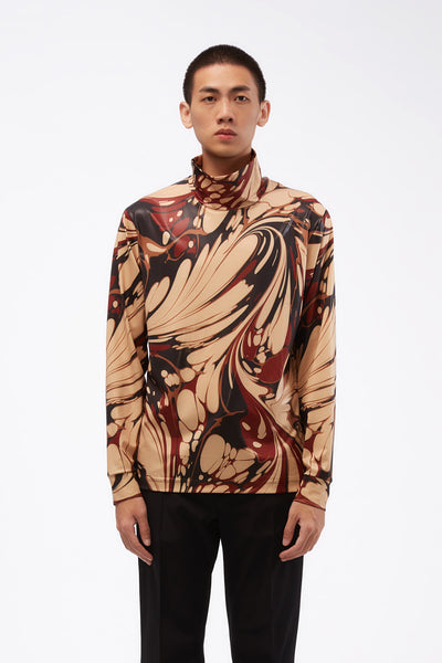 CMMN SWDN - LS Turtle Neck Top Brown Marble Print Jersey