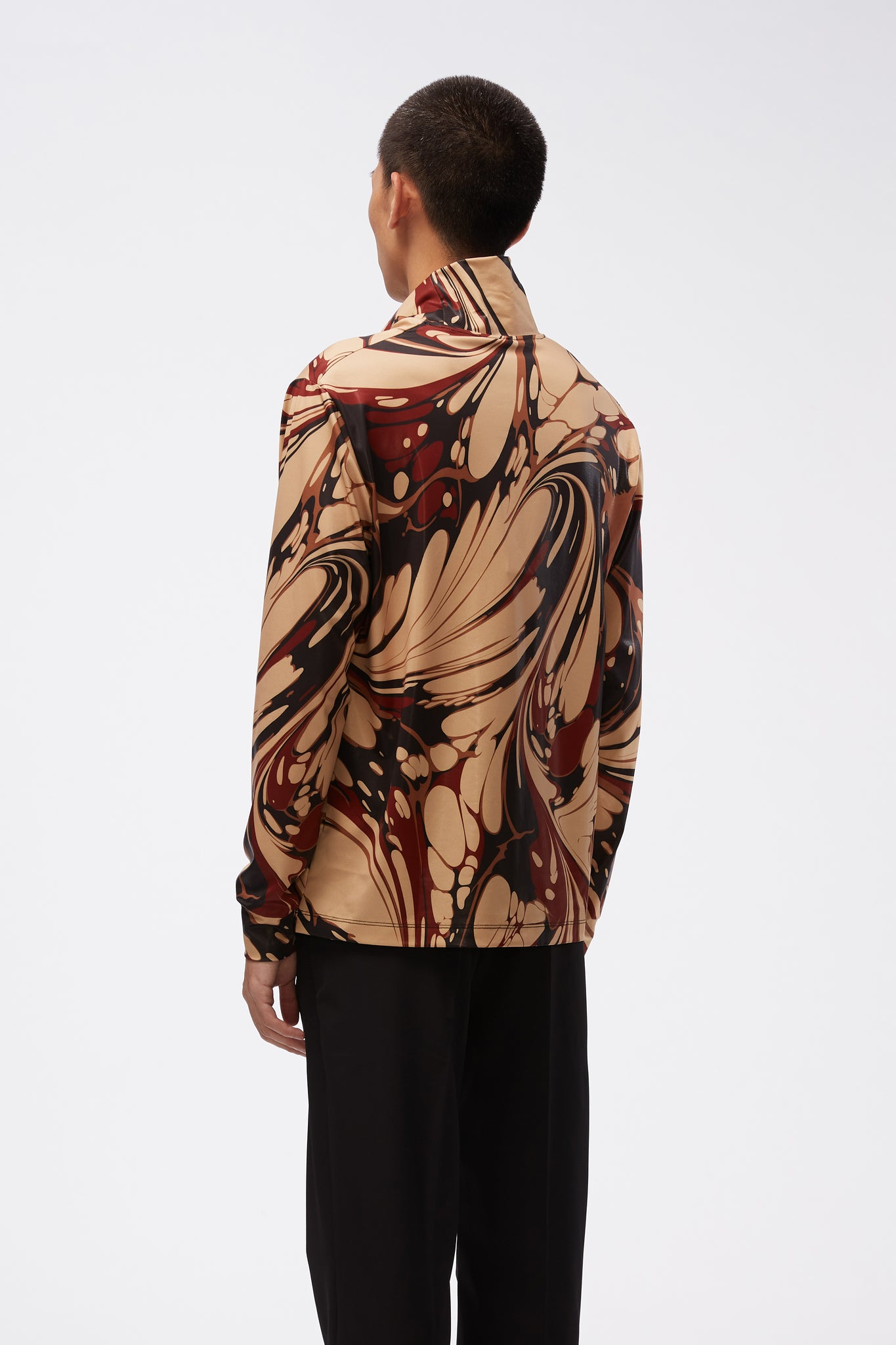 LS Turtle Neck Top Brown Marble Print Jersey