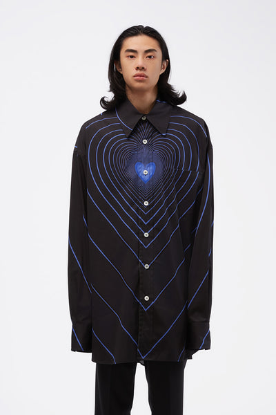 Marni - Blue Heart Print Shirt Black