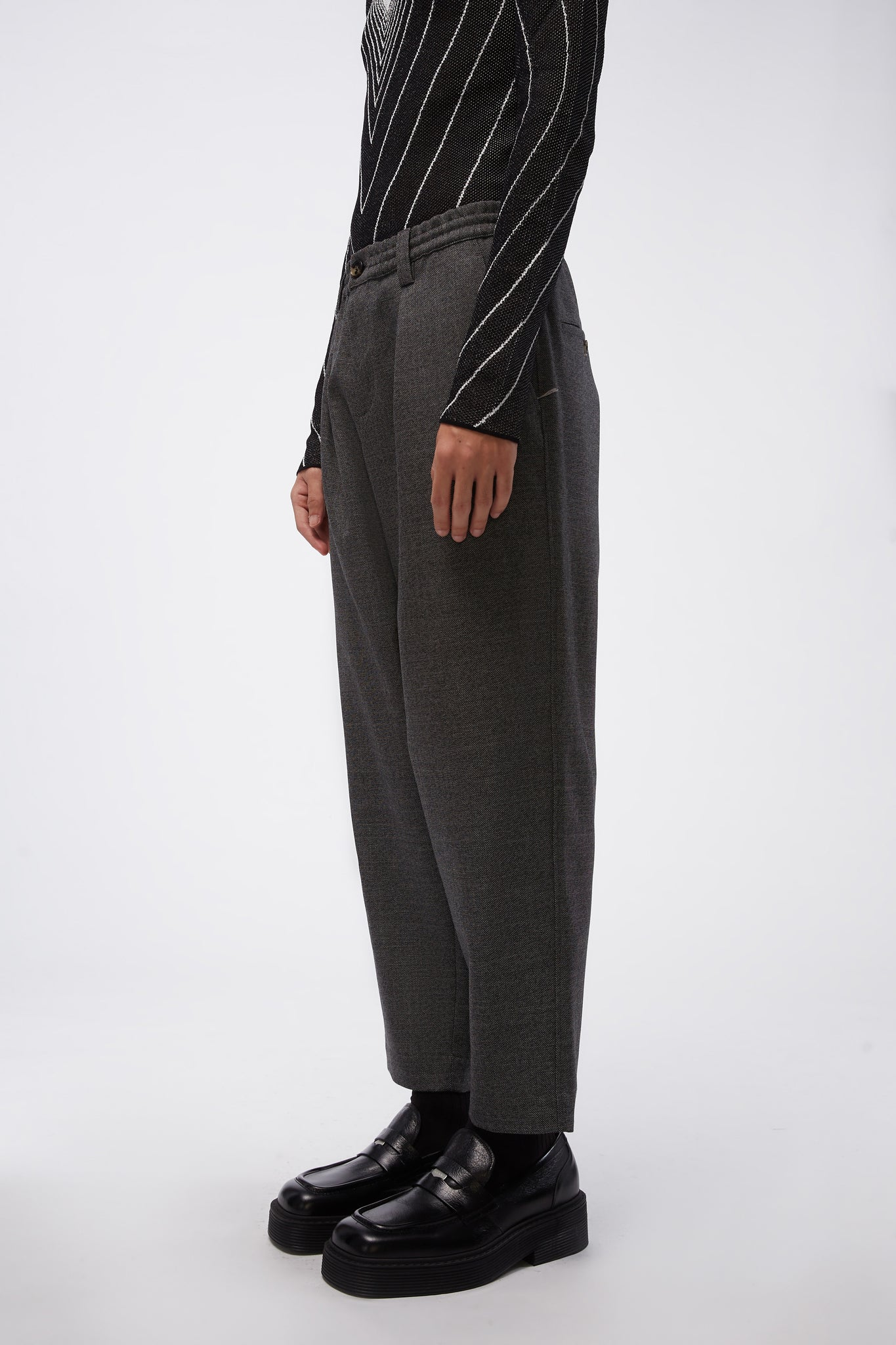Elastic Waist Loose Trousers Grey