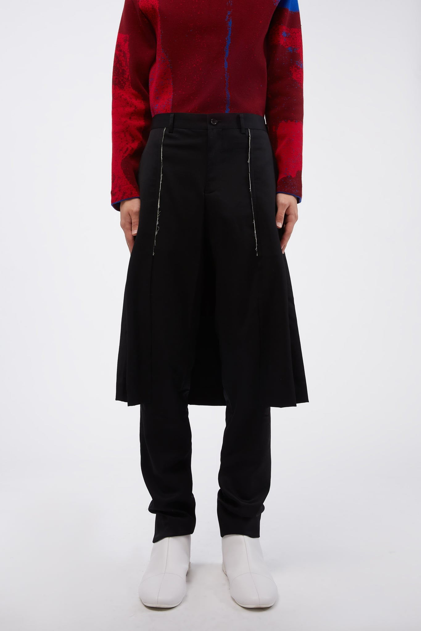 Black Wool Slim Fit Layered Trousers