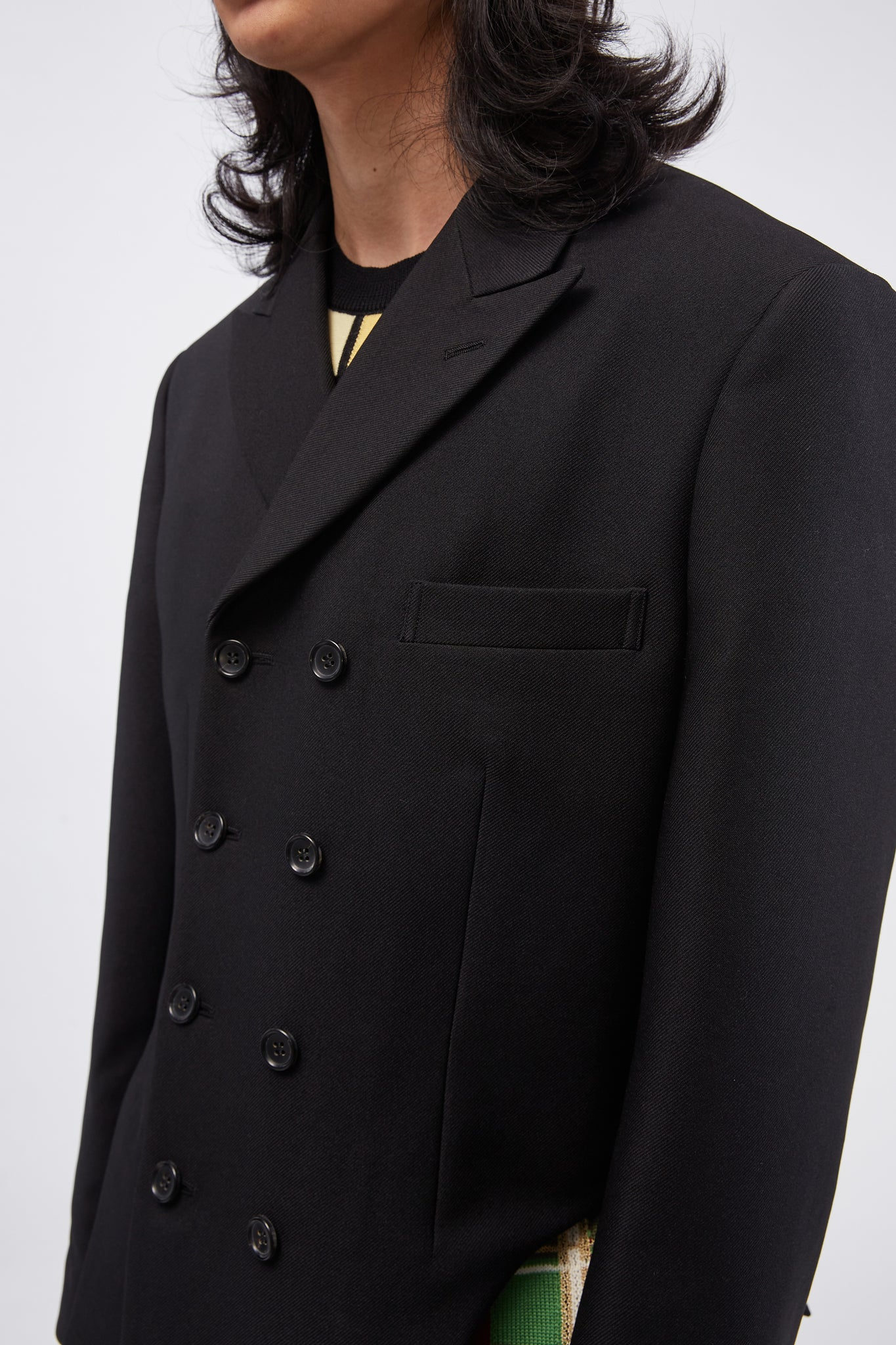 Cut-out Side Double-breasted Suit Jacket Black