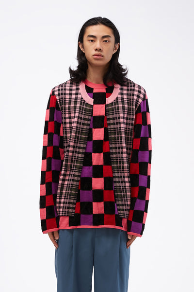 COMME des GARÇONS Homme Plus - Multi-fabric Check Crewneck Deconstructed Sweater Pink