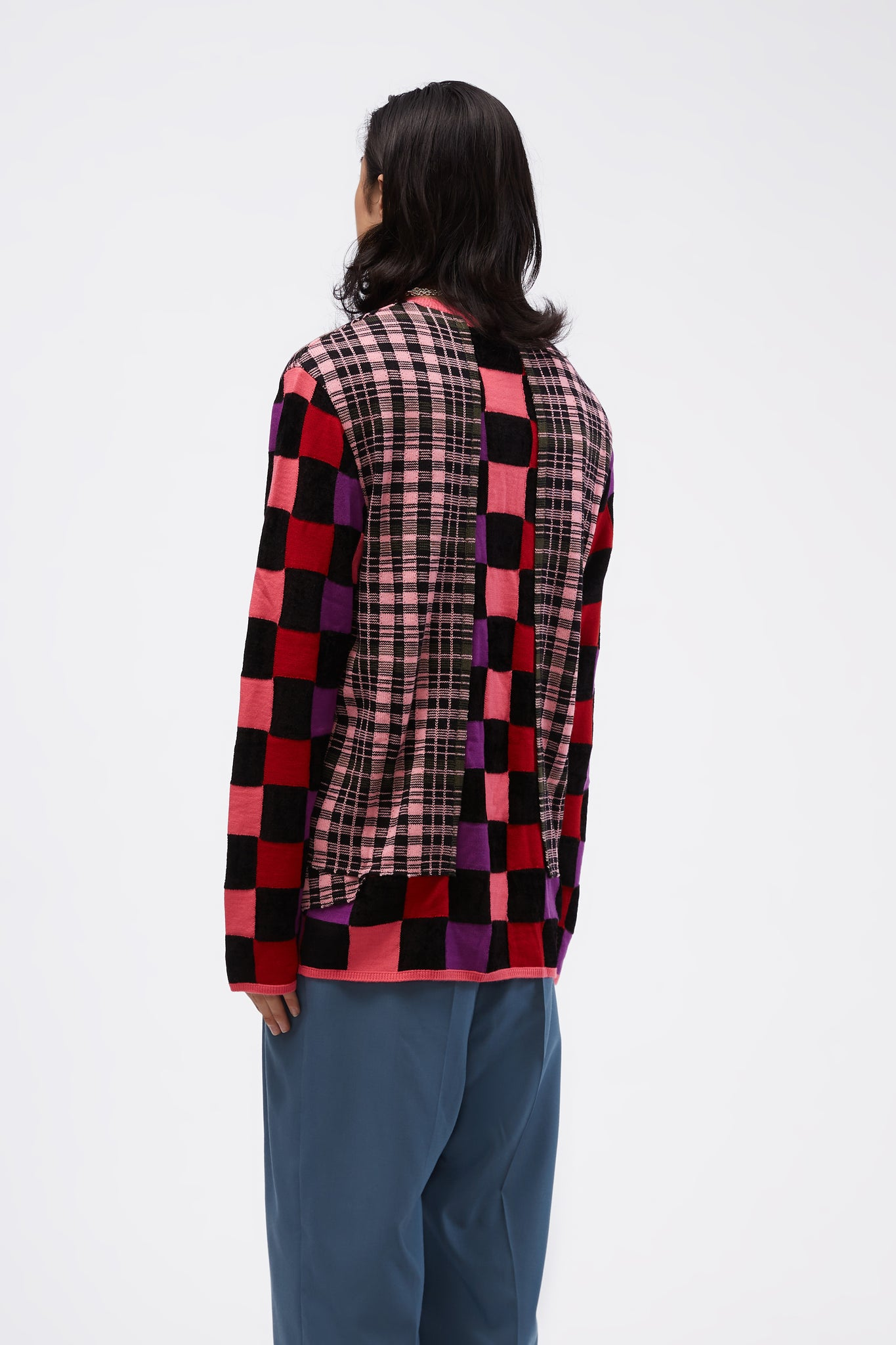 Multi-fabric Check Crewneck Deconstructed Sweater Pink