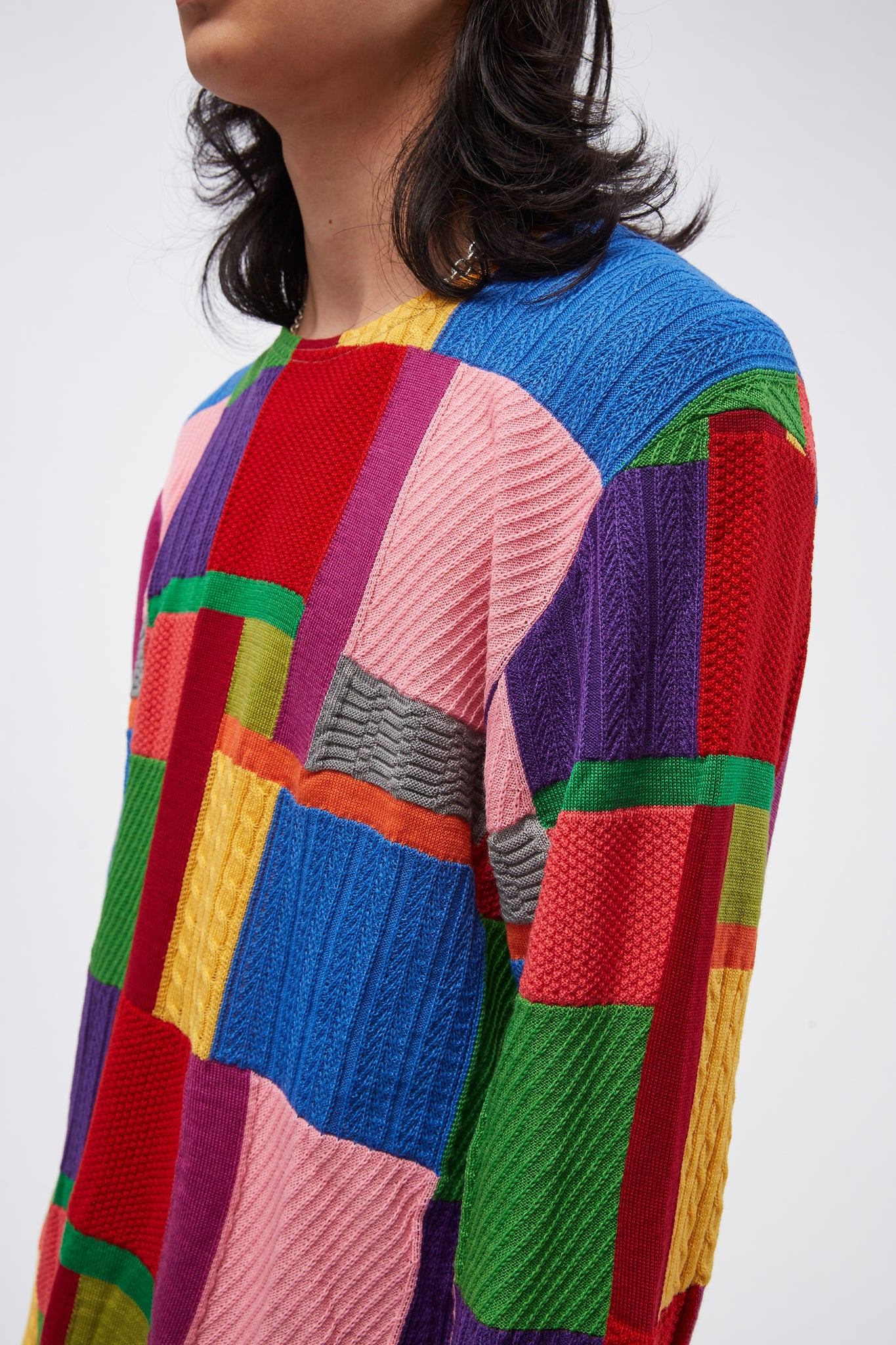 Colour-block Crewneck Jumper Multicolour