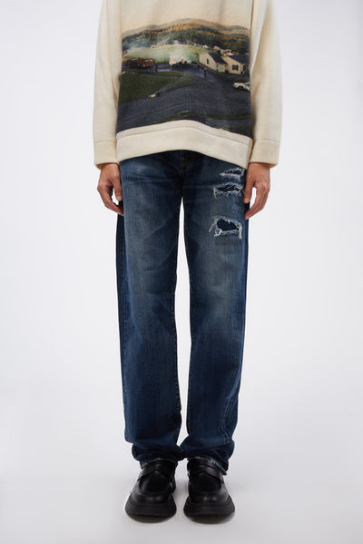 Vyner Articles - Puddle Leg Pant Denim Blue