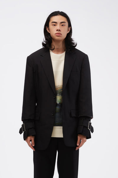 COMME des GARÇONS Homme Plus - Raw Edge Blazer With Raw-cut Hem Buckle Detail Black
