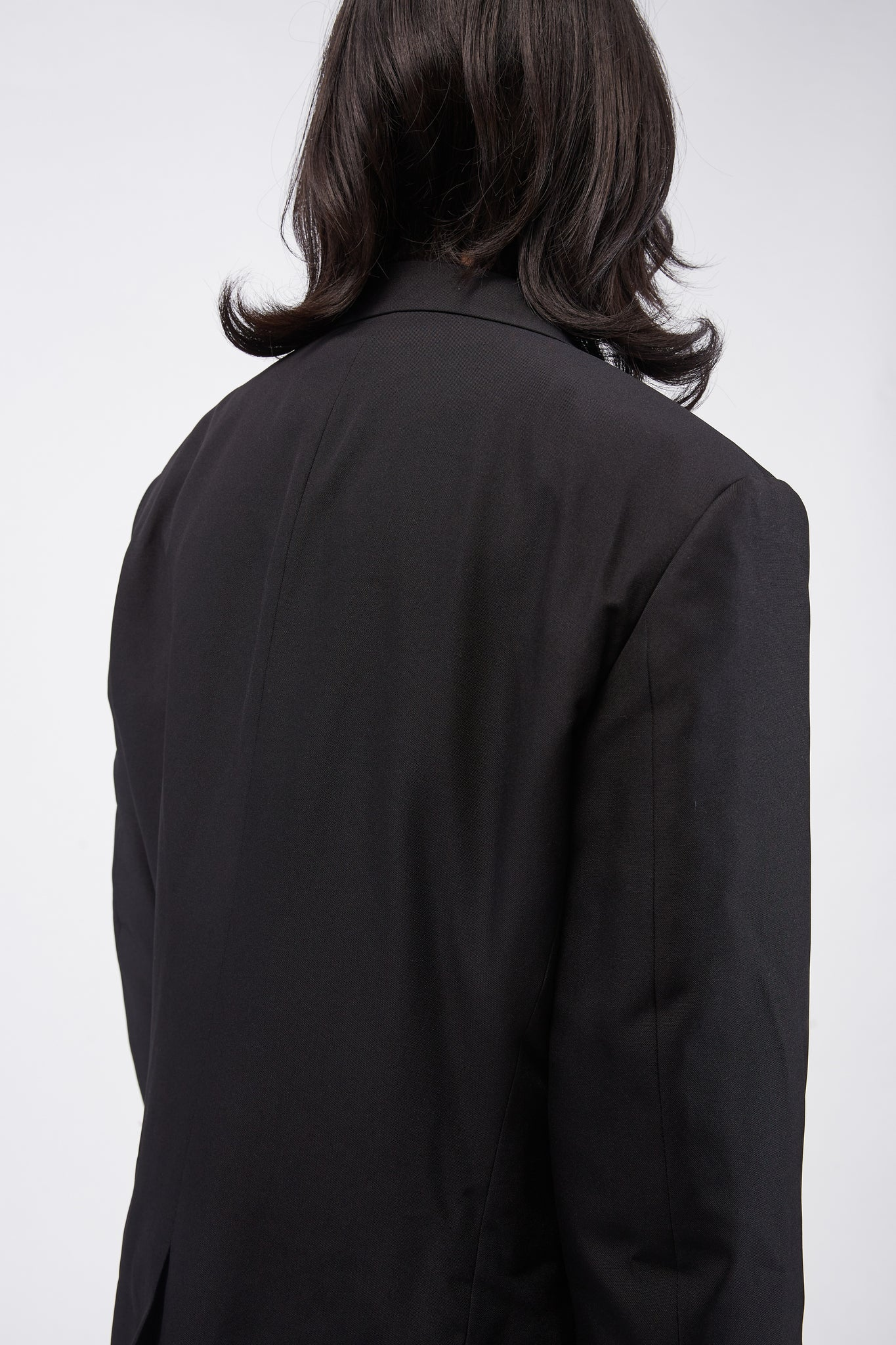 Raw Edge Blazer With Raw-cut Hem Buckle Detail Black