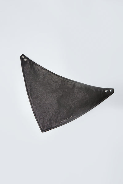 Leather Bandana W/ Metal Logo Black