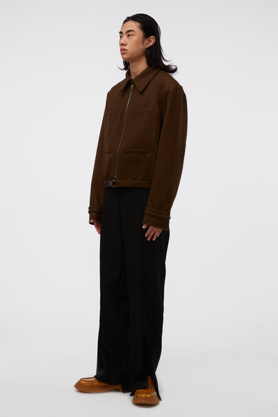Zipped Blouson Dark Brown
