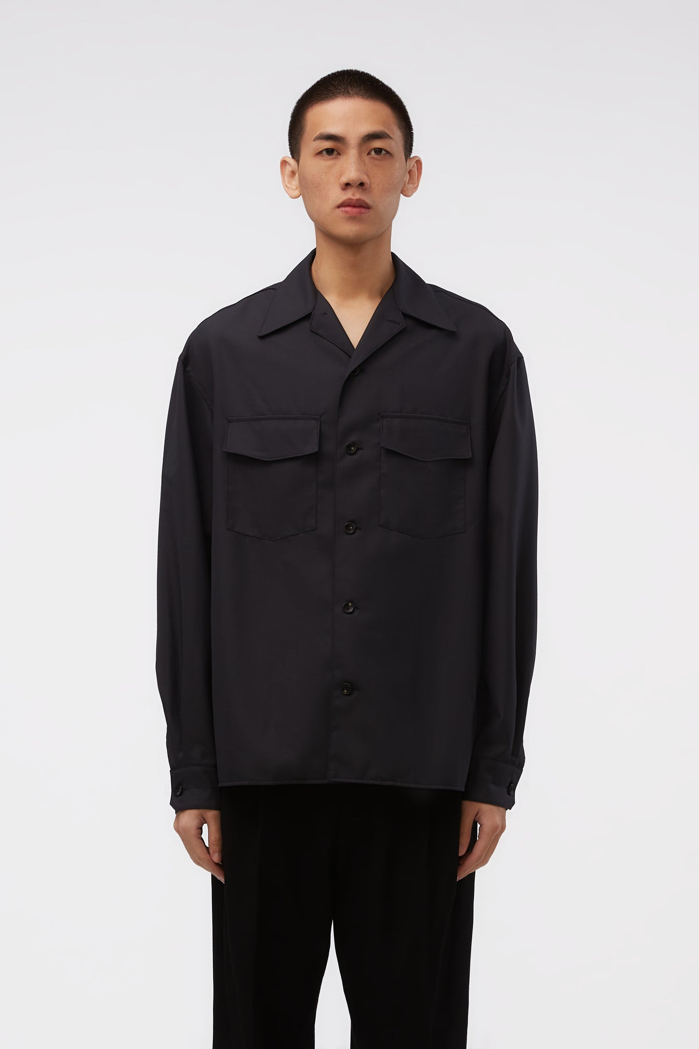 Unisex Convertible Collar Shirt Anthracite