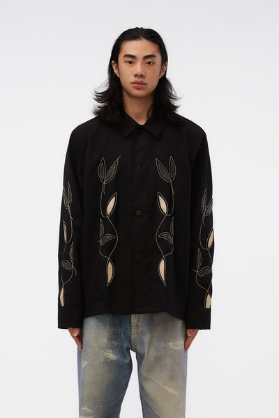 Our Legacy - Box Shirt Black Leaf Embroidery
