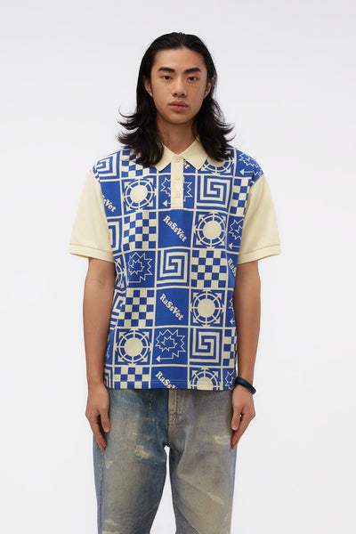 Rassvet - Polo Shirt Yellow Blue Print