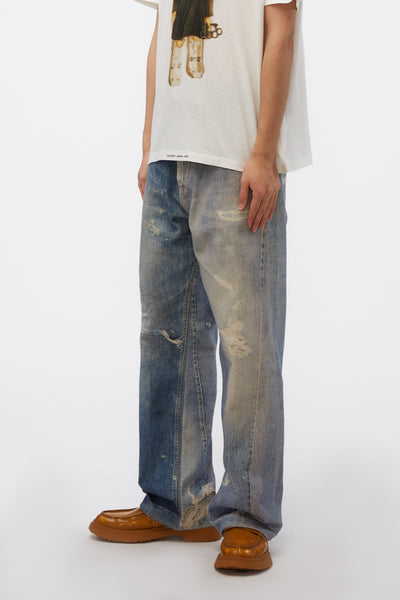 Third Cut Digital Denim Print Pants