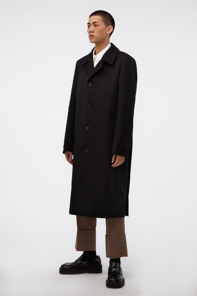 Cuff Detail Mac Coat Black