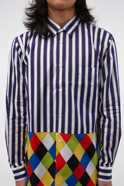 L/S Pinstripe-Diamond Print Blue/multicolour Shirt